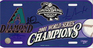 Luis Gonzalez Steve Finley Reggie Sanders autographed Arizona Diamondbacks 2001 World Series Champions license plate