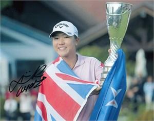 Lydia Ko autographed 2015 LPGA Evian Championship 8x10 photo