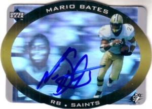 Mario Bates autographed New Orleans Saints 1996 SPx hologram card