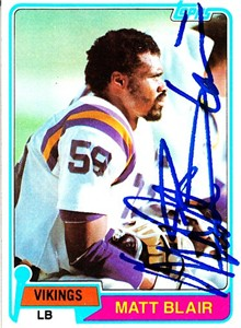 Matt Blair autographed Minnesota Vikings 1978 Topps card