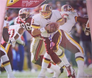 Mark Brunell autographed Washington Redskins calendar page