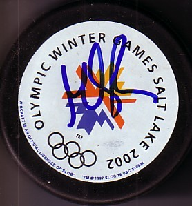 Martin Brodeur autographed 2002 Salt Lake City Olympics puck