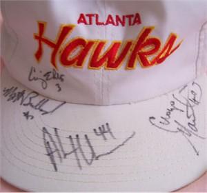 Matt Bullard Craig Ehlo Alan Henderson Cuonzo Martin autographed 1995-96 Atlanta Hawks cap or hat