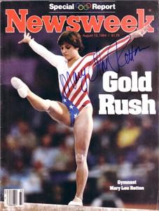 Mary Lou Retton autographed 1984 Olympics Newsweek magazine