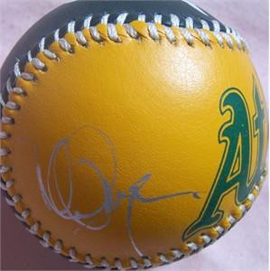 Mark McGwire autographed Oakland A's logo baseball