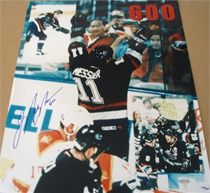 Mark Messier autographed Vancouver Canucks 600th Career Goal 16x20 poster size photo (Steiner)
