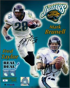 Fred Taylor & Mark Brunell autographed Jacksonville Jaguars 16x20 poster size photo ltd. edit. 99