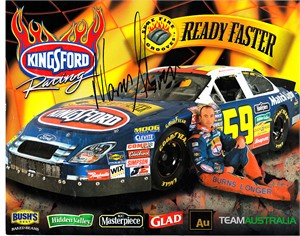 Marcos Ambrose autographed Kingsford Racing 8x10 NASCAR photo card