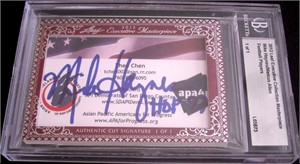 Marcus Allen & Mike Haynes certified autograph 2012 Leaf Executive Masterpiece Dual Cut Signature card #1/1