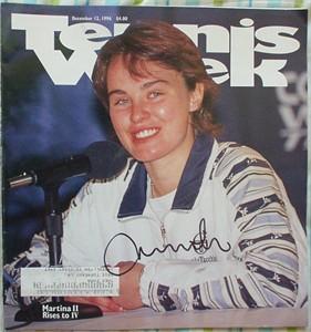 Martina Hingis autographed 1996 Tennis Week magazine