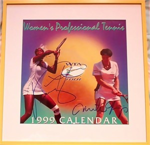 Martina Hingis & Venus Williams autographed 1999 WTA Tour tennis calendar cover matted & framed