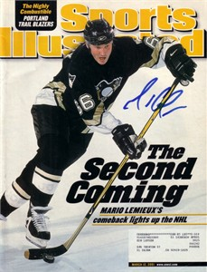 Mario Lemieux autographed Pittsburgh Penguins 2001 Sports Illustrated