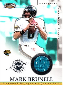 Mark Brunell Jacksonville Jaguars 2002 Pacific Exclusive player worn game jersey card