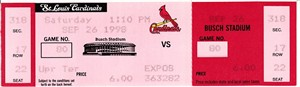 Mark McGwire home runs #67 & #68 1998 St. Louis Cardinals full unused ticket