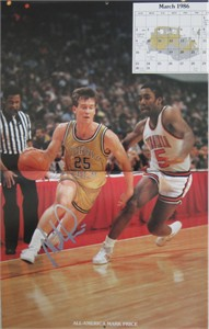 Mark Price autographed Georgia Tech Yellow Jackets 1985-86 calendar