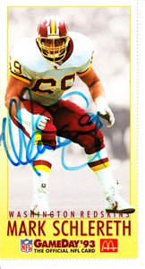 Mark Schlereth autographed Washington Redskins 1993 McDonald's GameDay card
