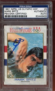 Mark Spitz (swimming) autographed U.S. Olympic Hall of Fame card (PSA/DNA)
