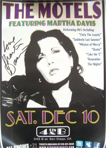 Martha Davis autographed The Motels 2011 concert poster