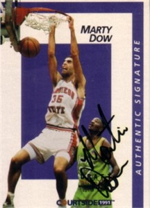 Marty Dow certified autograph San Diego State 1991 Courtside card