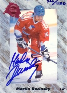 Martin Rucinsky certified autograph 1991 Classic hockey card