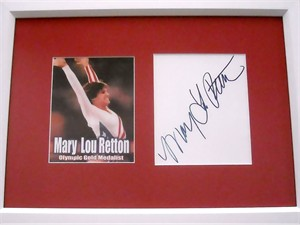 Mary Lou Retton autograph matted & framed with photo card