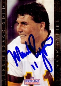 Mark Rypien autographed Washington Redskins 1992 Pro Line Quarterback Gold card