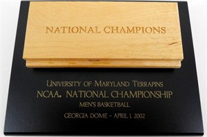 Maryland Terrapins 2002 NCAA National Championship basketball floorboard plaque