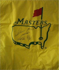 Masters golf banner or house flag autographed by Ben Crenshaw Nick Faldo Bernhard Langer Phil Mickelson Arnold Palmer