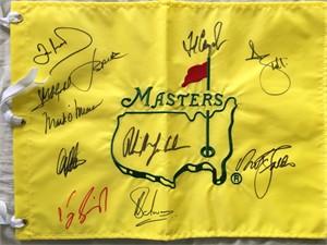 Masters undated golf pin flag autographed by 9 winners (Nick Faldo Phil Mickelson Adam Scott Jordan Spieth)