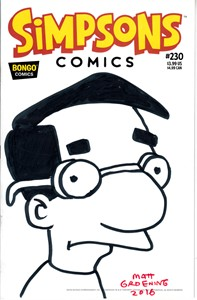 Matt Groening autographed & Milhouse sketched cover Simpsons comic book #230