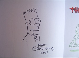 Matt Groening autographed doodled dated Simpsons Handbook hardcover book