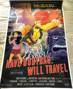 Matt Groening autographed & doodled The Simpsons 2015 Comic-Con McBain movie poster