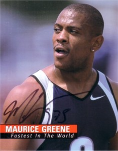 Maurice Greene autographed 4x5 photo card
