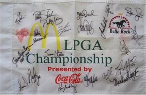LPGA Championship golf pin flag autographed by 22 winners (Nancy Lopez Inbee Park Suzann Pettersen Annika Sorenstam)
