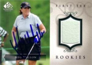 Meg Mallon autographed 2004 SP Signature golf tournament worn shirt card