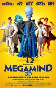Megamind 3D mini movie poster (Will Ferrell Tina Fey Jonah Hill Brad Pitt)
