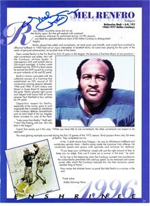 Mel Renfro autographed Dallas Cowboys magazine page