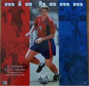 Mia Hamm autographed 2003 soccer calendar (Steiner)