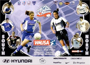 Mia Hamm & Brandi Chastain 2002 WUSA All-Star Game 5x7 promo postcard