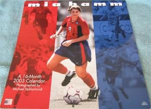 Mia Hamm autographed 2003 soccer calendar