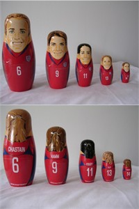 Mia Hamm Brandi Chastain Joy Fawcett Julie Foudy Kristine Lilly nesting dolls set