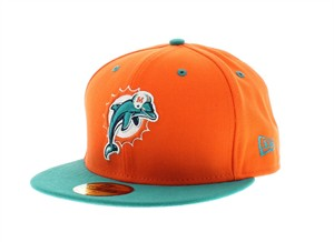 Miami Dolphins authentic New Era On Field aqua & orange cap or hat