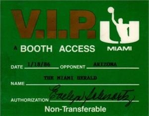 Miami Hurricanes vs. Arizona Wildcats college basketball 1986 VIP press pass (Sean Elliott Steve Kerr Lute Olson)