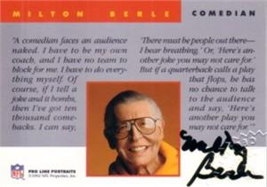 Milton Berle certified autograph 1992 Pro Line card