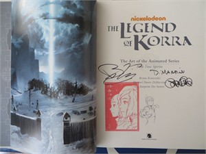 Michael DiMartino & Bryan Konietzko autographed & stamped Legend of Korra Art of the Animated Series Book Two