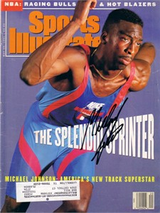 Michael Johnson autographed 1991 Sports Illustrated
