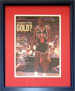 Michael Jordan autographed 1984 U.S. Olympic Team magazine photo matted & framed (RARE FULL NAME SIGNATURE)