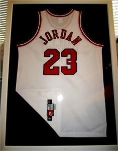 Michael Jordan autographed Chicago Bulls white Nike game model jersey matted & framed UDA