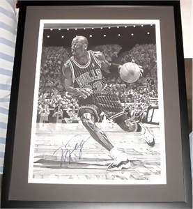 Michael Jordan autographed Chicago Bulls 16x20 inch stipple lithograph matted & framed