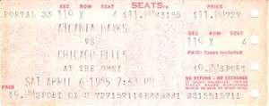 Michael Jordan rookie season 1984-85 Chicago Bulls at Atlanta Hawks ticket stub